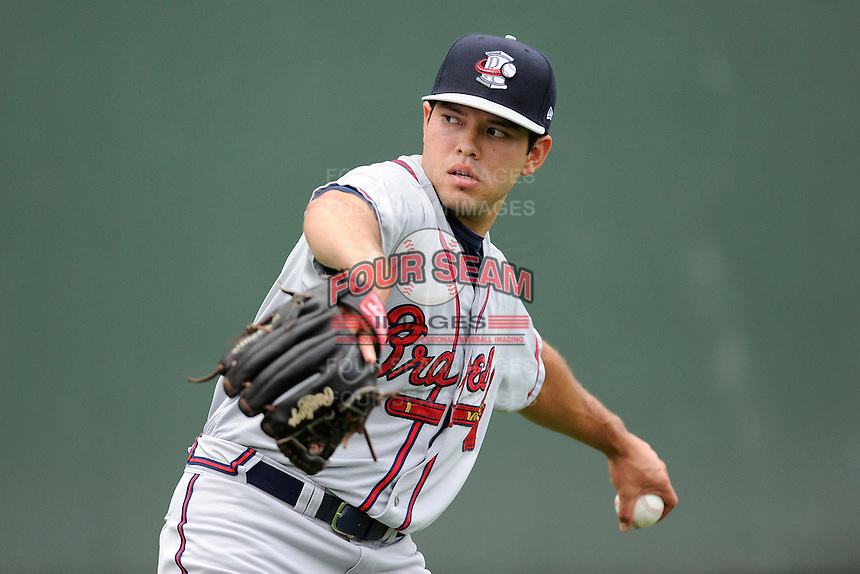 Starting pitcher Chris Diaz (37) of the Rome Braves warms up before a game against the Greenville Drive on Thursday, July 31, 2014, at Fluor Field at the West End in Greenville, South Carolina. Diaz was a fifth-round pick of the Atlanta Braves in the 2014 First-Year Player Draft out of the University of Miami. (Tom Priddy/Four Seam Images)