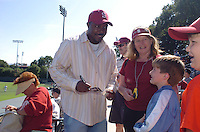 6 May 2006: Jeffrey Hammonds signs autographs during Stanford's 5-1 loss against California Golden Bears at Sunken Diamond in Stanford, CA. Stanford Baseball announced its All-Time Starting 9 during a pre-game ceremony. The nine players selected for the team, chosen by the fans, represent the best of the first 30 years of the  distinguished career of the head coach.