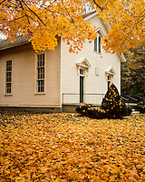 Fall color at Funks Grove Church (1864); McLean County, IL
