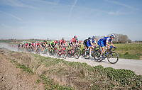 peloton led by Zdenek Stybar (CZE/Quick Step Floors racing over the newly added gravel roads around Ploegsteert, called 'Plugstreets'<br /> <br /> 79th Gent-Wevelgem 2017 (1.UWT)<br /> 1day race: Deinze › Wevelgem - BEL (249km)