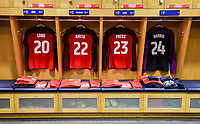 San Jose, CA - Sunday November 12, 2017: U.S. Women's National team locker room during an International friendly match between the Women's National teams of the United States (USA) and Canada (CAN) at Avaya Stadium.