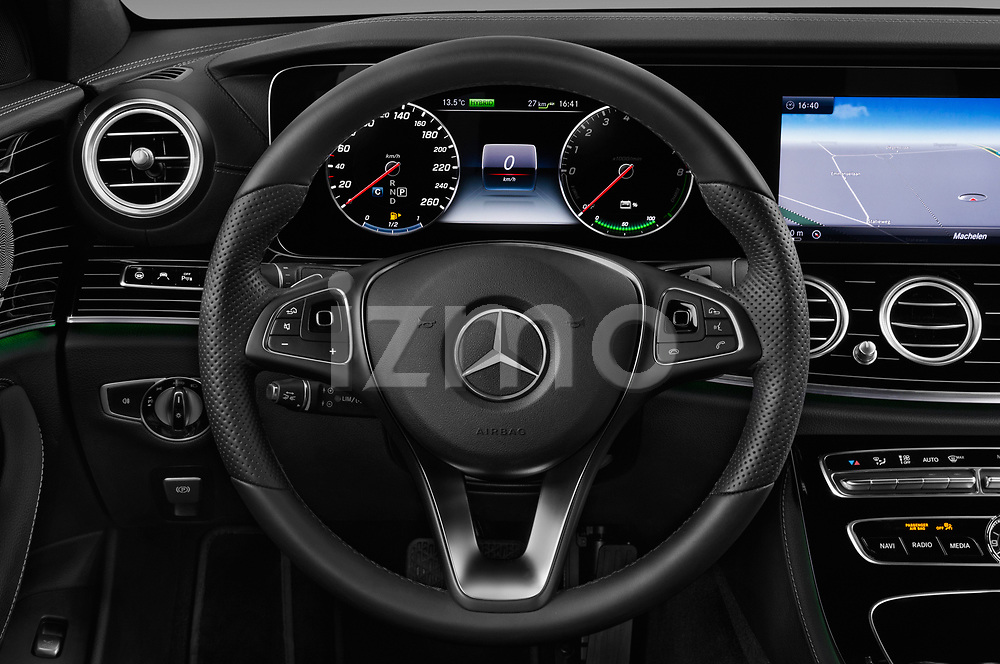 Car pictures of steering wheel view of a 2018 Mercedes Benz E Class Base 4 Door Sedan