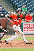 Cameron Flynn (11) of the Greensboro Grasshoppers follows through on his swing against the Augusta GreenJackets at NewBridge Bank Park on August 11, 2013 in Greensboro, North Carolina.  The GreenJackets defeated the Grasshoppers 6-5 in game one of a double-header.  (Brian Westerholt/Four Seam Images)
