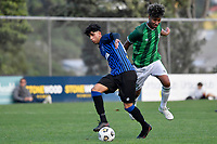 Harris Zeb of the Miramar Rangers competes for the ball with Jameel Ali of the Wainuiomata AFC during the Central League Football - Miramar Rangers AFC v Wainuiomata AFC at David Farrington Park, Wellington, New Zealand on Saturday 17 April 2021.<br /> Copyright photo: Masanori Udagawa /  www.photosport.nz