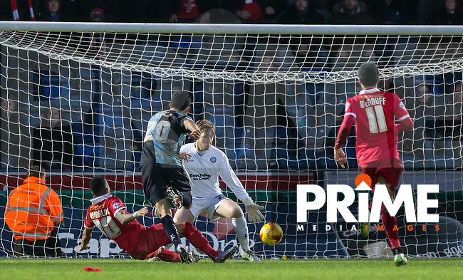 Calaum Jahraldo-Martin of Leyton Orient scores his goal past Goalkeeper Alex Lynch of Wycombe Wanderers during the Sky Bet League 2 match between Wycombe Wanderers and Leyton Orient at Adams Park, High Wycombe, England on 23 January 2016. Photo by Andy Rowland / PRiME Media Images.