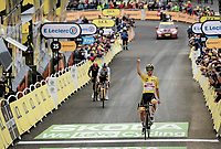 An absolutely dominant yellow jersey / GC leader Tadej Pogacar (SVN/UAE-Emirates) wins up Luz Ardiden<br /> <br /> Stage 18 from Pau to Luz Ardiden (130km)<br /> 108th Tour de France 2021 (2.UWT)<br /> <br /> ©kramon