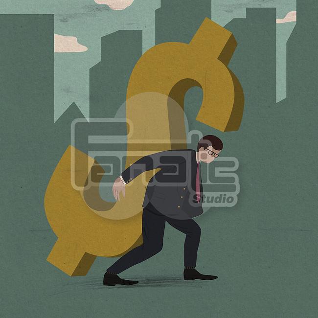 Businessman carrying the burden of business debt