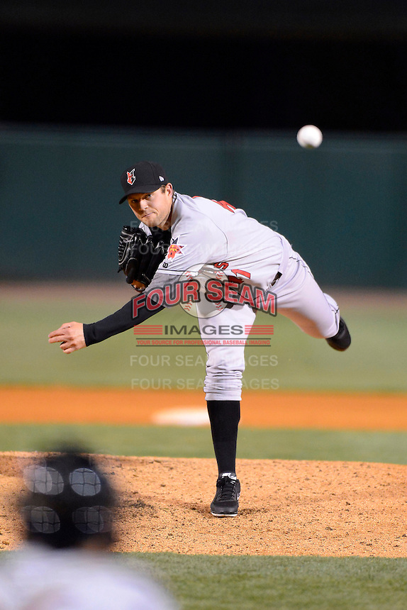 Indianapolis Indians pitcher Andy Oliver #41 during a game against the Louisville Bats on April 19, 2013 at Louisville Slugger Field in Louisville, Kentucky.  Indianapolis defeated Louisville 4-1.  (Mike Janes/Four Seam Images)
