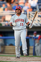 Auburn Doubledays catcher Alex Marquez (15) at bat during a game against the Batavia Muckdogs on August 27, 2014 at Dwyer Stadium in Batavia, New York.  Auburn defeated Batavia 6-4.  (Mike Janes/Four Seam Images)