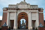 Menin Gate First World War memorial in Ypres the start point of the 82nd edition of Gent-Wevelgem 2020 running 232km from Ypres to Wevelgem, Belgium. 11th October 2020.  <br /> Picture: Colin Flockton   Cyclefile<br /> <br /> All photos usage must carry mandatory copyright credit (© Cyclefile   Colin Flockton)