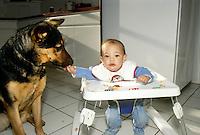 9 month old baby feeds German Shepherd -- sharing his breakfast
