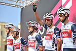 Vincenzo Nibali (ITA) and Trek-Segafredo at sign on before the start of Stage 2 of the 103rd edition of the Giro d'Italia 2020 running 149km from Alcamo to Agrigento, Sicily, Italy. 4th October 2020.  <br /> Picture: LaPresse/Massimo Paolone | Cyclefile<br /> <br /> All photos usage must carry mandatory copyright credit (© Cyclefile | LaPresse/Massimo Paolone)