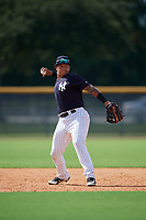 New York Yankees Nelson Gomez (50) throws to first base during a Florida Instructional League game against the Philadelphia Phillies on October 11, 2018 at Yankee Complex in Tampa, Florida.  (Mike Janes/Four Seam Images)