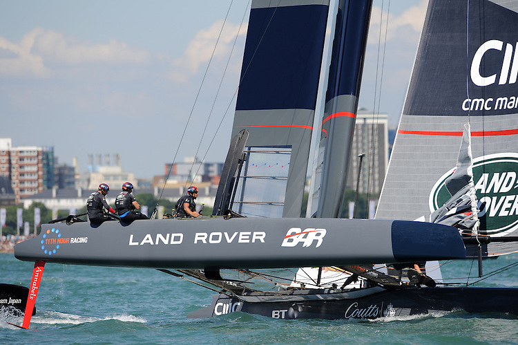 Land Rover BAR, JULY 23, 2016 - Sailing: Sir Ben Ainslie (GBR) helms Land Rover BAR during day one of the Louis Vuitton America's Cup World Series racing, Portsmouth, United Kingdom. (Photo by Rob Munro/Stewart Communications)