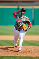 Arkansas Travelers relief pitcher Thyago Vieira (39) delivers a pitch during a game against the Frisco RoughRiders on May 28, 2017 at Dickey-Stephens Park in Little Rock, Arkansas.  Arkansas defeated Frisco 17-3.  (Mike Janes/Four Seam Images)