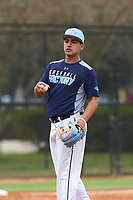 Bryan Loriga (7) of Hialeah, Florida during the Baseball Factory All-America Pre-Season Rookie Tournament, powered by Under Armour, on January 13, 2018 at Lake Myrtle Sports Complex in Auburndale, Florida.  (Michael Johnson/Four Seam Images)