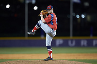 NJIT Highlanders relief pitcher Bryan Haberstroh (7) in action against the High Point Panthers at Williard Stadium on February 18, 2017 in High Point, North Carolina. The Highlanders defeated the Panthers 4-2 in game two of a double-header. (Brian Westerholt/Four Seam Images)