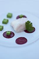 Europe/France/Corse/2B/Haute-Corse/Cap Corse/Saint-Florent: Blanc de chapon de mer, cuit vapeur, huile de noisette de Cervione , Recette de Yann Le Scavarec - Hôtel-Restaurant La Roya -