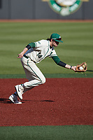 Charlotte 49ers third baseman Austin Knight (14) on defense against the Old Dominion Monarchs at Hayes Stadium on April 25, 2021 in Charlotte, North Carolina. (Brian Westerholt/Four Seam Images)