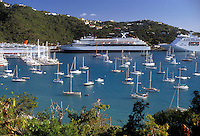 AJ2350, U.S. Virgin Islands, St. Thomas, Caribbean, cruise, USVI, U.S.V.I., port, Virgin Islands, Scenic view of cruise ships and sailboats in the harbor in Charlotte Amalie the territorial capital of the US Virgin Islands on Saint Thomas Island.