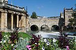 Great Britain, Bath and NE Somerset, Bath: Pulteney Bridge, designed by Robert Adam in 1774  and Pulteney Weir on the River Avon
