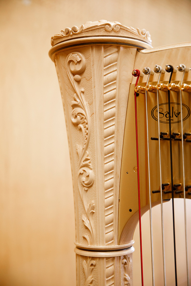 A harp sits in a practice room during the 11th USA International Harp Competition at Indiana University in Bloomington, Indiana on Wednesday, July 3, 2019. (Photo by James Brosher)