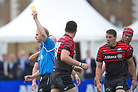 20120823 Copyright onEdition 2012©.Free for editorial use image, please credit: onEdition..Referee Mr Wayne Barnes awards a yellow card to Joel Tomkins of Saracens at The Honourable Artillery Company, London in the pre-season friendly between Saracens and Stade Francais Paris...For press contacts contact: Sam Feasey at brandRapport on M: +44 (0)7717 757114 E: SFeasey@brand-rapport.com..If you require a higher resolution image or you have any other onEdition photographic enquiries, please contact onEdition on 0845 900 2 900 or email info@onEdition.com.This image is copyright the onEdition 2012©..This image has been supplied by onEdition and must be credited onEdition. The author is asserting his full Moral rights in relation to the publication of this image. Rights for onward transmission of any image or file is not granted or implied. Changing or deleting Copyright information is illegal as specified in the Copyright, Design and Patents Act 1988. If you are in any way unsure of your right to publish this image please contact onEdition on 0845 900 2 900 or email info@onEdition.com