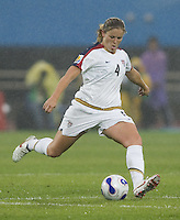 Cat Whitehill of the USA. The United States (USA) and North Korea (PRK) played to a 2-2 tie during a FIFA Women's World Cup China 2007 opening round Group B match at Chengdu Sports Center Stadium, Chengdu, China, on September 11, 2007.