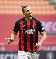 21st February 2021, San Siro Stadium, Milan, Italy; Italian Serie A Football, AC Milan versus Inter Milan; Zlatan Ibrahimovic AC Milan disappointed as he misses a goal chance
