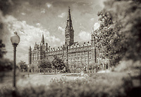 Georgetown Healy Hall Washington DC Black and White Photography Washington DC Art - - Framed Prints - Wall Murals - Metal Prints - Aluminum Prints - Canvas Prints - Fine Art Prints Washington DC Landmarks Monuments Architecture