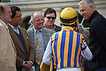 John Velazquez talking with trainer Todd Pletcher and Spring Hill Farm connections after winning at Gulfstream Park, Hallandale Beach Florida.