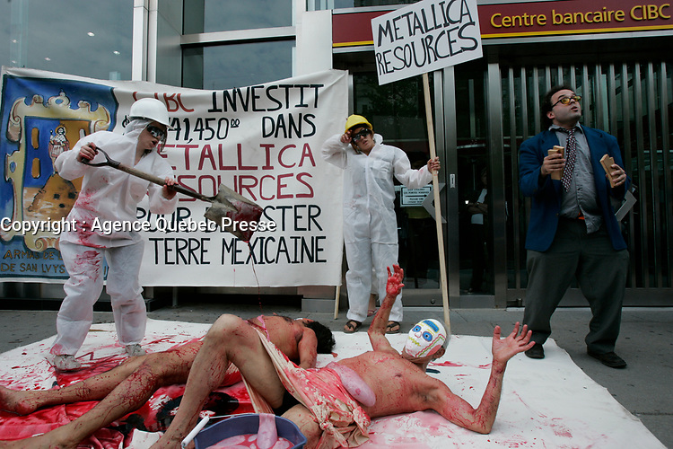 Protest agains Metallica Ressources in front of CIBC (canadian imperial Bank of commerce<br /> )  building in Montreal<br /> <br /> PHOTO :   : Agence Quebec Presse