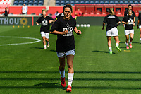 BRIDGEVIEW, IL - JULY 18: Lauren Barnes #3 of the OL Reign warms up before a game between OL Reign and Chicago Red Stars at SeatGeek Stadium on July 18, 2021 in Bridgeview, Illinois.