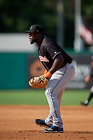 Jupiter Hammerheads first baseman Lazaro Alonso (44) during a Florida State League game against the Dunedin Blue Jays on May 15, 2019 at Jack Russell Memorial Stadium in Clearwater, Florida.  Jupiter defeated Dunedin 5-1 in seven innings, the first game of a doubleheader.  (Mike Janes/Four Seam Images)
