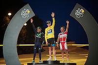 Top 3 of the 100th Tour de France: 1/ Chris Froome (GBR), 2/ Nairo Quintana (COL) & 3/ Joaquim Rodriguez (ESP)<br /> <br /> Tour de France 2013<br /> (final) stage 21: Versailles - Paris Champs-Elysées<br /> 133,5km
