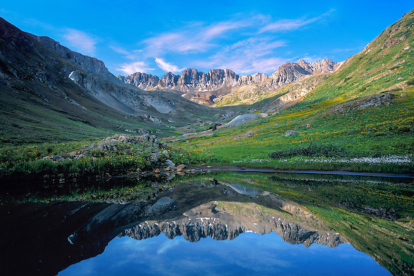 Alpine lake in American Basin, San Juan Mountains, Lake City, Colorado, .  John leads wildflower photo tours into American Basin and throughout Colorado. All-year long.