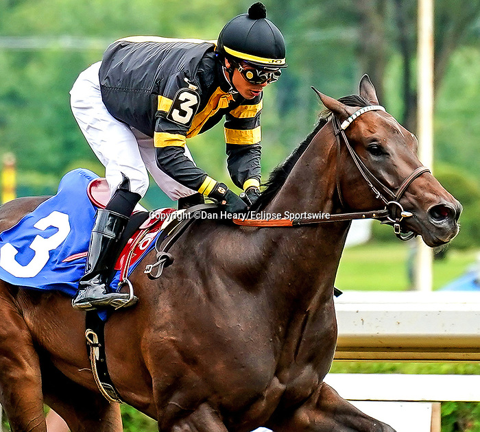 July 17, 2021: Baby Yoda, #3, ridden by jockey Jose L. Ortiz wins a starter allowance  on opening weekend at Saratoga Race Course in Saratoga Springs, N.Y. on July 17, 2021. Dan Heary/Eclipse Sportswire/CSM