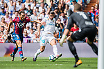 Theo Bernard Francois Hernandez Pi of Real Madrid (C) fights for the ball with Ivan Lopez Mendoza of Levante UD (L) during the La Liga match between Real Madrid and Levante UD at the Estadio Santiago Bernabeu on 09 September 2017 in Madrid, Spain. Photo by Diego Gonzalez / Power Sport Images