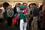 Trainer of Itsmyluckyday Eddie Plesa Jr, celebrates with jockey Elvis Trujillo after winning the Holy Bull (G3) at Gulfstream Park.  Hallandale Beach Florida. 01-26-2013