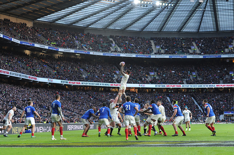 Courtney Lawes of England wins the lineout near the French line during the Guinness Six Nations match between England and France at Twickenham Stadium on Sunday 10th February 2019 (Photo by Rob Munro/Stewart Communications)