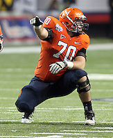 ATLANTA, GA - DECEMBER 31: Luke Bowanko #70 of the Virginia Cavaliers watches the play during the 2011 Chick Fil-A Bowl against the Auburn Tigers at the Georgia Dome on December 31, 2011 in Atlanta, Georgia. Auburn defeated Virginia 43-24. (Photo by Andrew Shurtleff/Getty Images) *** Local Caption *** Luke Bowanko