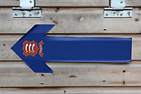 One-way arrow to direct spectators ahead of Essex CCC vs Nottinghamshire CCC, LV Insurance County Championship Group 1 Cricket at The Cloudfm County Ground on 4th June 2021