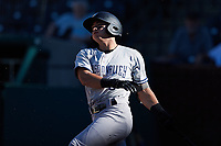 Anthony Volpe (5) of the Hudson Valley Renegades follows through on his swing against the Greensboro Grasshoppers at First National Bank Field on September 2, 2021 in Greensboro, North Carolina. (Brian Westerholt/Four Seam Images)