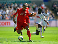 FAO SPORTS PICTURE DESK<br /> Pictured: Nathan Dyer of Swansea (R) against Glen Johnson (L) of Liverpool. Sunday, 13 May 2012<br /> Re: Premier League football, Swansea City FC v Liverpool FC at the Liberty Stadium, south Wales.