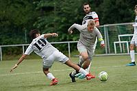 Alexander Fiedler (Stockstadt) gegen Muhammed Öner und Luca Götz (Königstädten) - Rüsselsheim 22.08.2021: SV Alemannia Königstädten vs. SKG Stockstadt, Kreisliga A