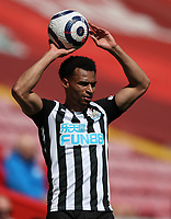 24th April 2021; Anfield, Liverpool, Merseyside, England; English Premier League Football, Liverpool versus Newcastle United; Jacob Murphy of Newcastle United takes a throw in