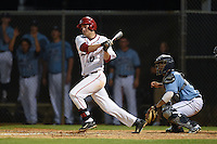 Ball State Cardinals first baseman Sean Kennedy (10) at bat in front of catcher Jonathan Salcedo (99) during a game against the Maine Black Bears on March 3, 2015 at North Charlotte Regional Park in Port Charlotte, Florida.  Ball State defeated Maine 8-7.  (Mike Janes/Four Seam Images)