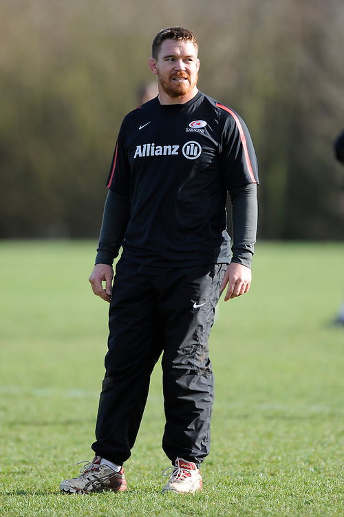 20130131 Copyright onEdition 2013©.Free for editorial use image, please credit: onEdition..John Smit looks on during the Saracens Captains Run at Old Albanians Rugby Club, St Albans on Thursday 31st January 2013 (Photo by Rob Munro)..For press contacts contact: Sam Feasey at brandRapport on M: +44 (0)7717 757114 E: SFeasey@brand-rapport.com..If you require a higher resolution image or you have any other onEdition photographic enquiries, please contact onEdition on 0845 900 2 900 or email info@onEdition.com.This image is copyright onEdition 2013©..This image has been supplied by onEdition and must be credited onEdition. The author is asserting his full Moral rights in relation to the publication of this image. Rights for onward transmission of any image or file is not granted or implied. Changing or deleting Copyright information is illegal as specified in the Copyright, Design and Patents Act 1988. If you are in any way unsure of your right to publish this image please contact onEdition on 0845 900 2 900 or email info@onEdition.com