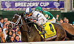 October 30, 2015 :  Stopchargingmaria, ridden by Javier Castellano, outdoes Stellar Wind, ridden by Victor Espinoza, to win the Breeders' Cup Distaff at Keeneland Race Course in Lexington, Kentucky.  Candice Chavez/ESW/CSM