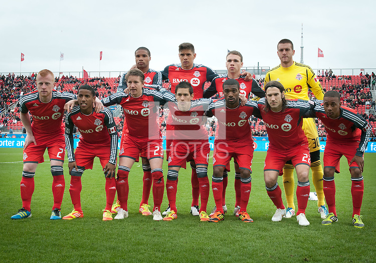 21 April 2012: The Toronto FC starting eleven during a game between the Chicago Fire and Toronto FC at BMO Field in Toronto..The Chicago Fire won 3-2....